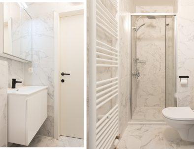 Badkamer met regendouche en badkamermeubel, inclusief toilet.